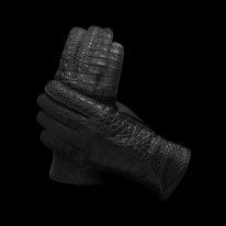 Black Crocodile Leather Gloves