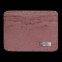 Dusty Pink Ostrich Credit Card Holder