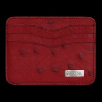 Flame Red Ostrich Credit Card Holder