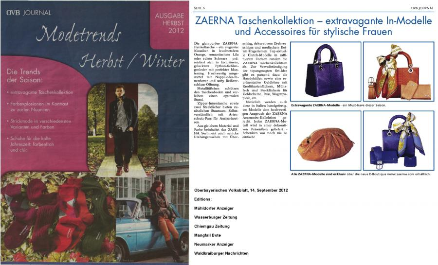 Oberbayerisches Volksblatt<br>Modetrends Herbst / Winter<br>14. September 2012